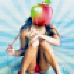 Artwork Girl with apple head