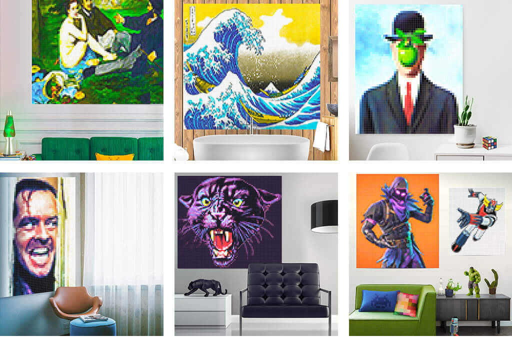 Pixel-art artwork with shimmering colors to sublimate all your spaces
