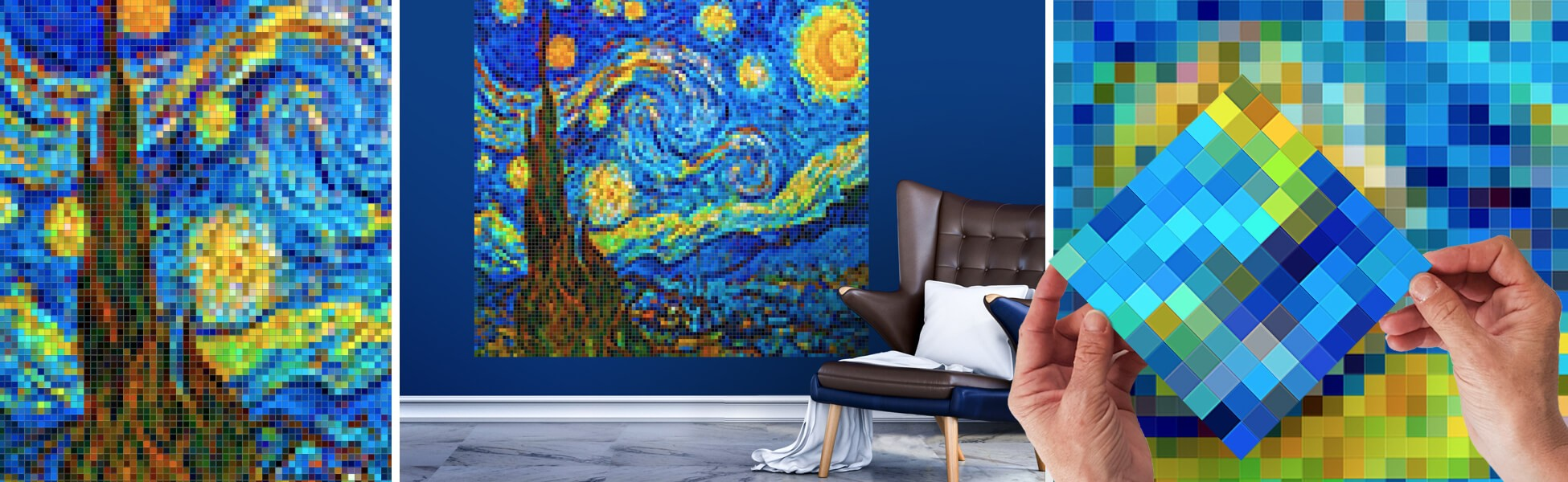 Magnifient artworks of The Starry Night in pixel art